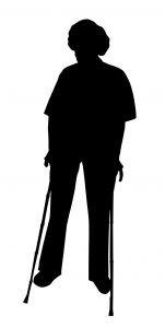 Postać z kulami ortopedycznymi